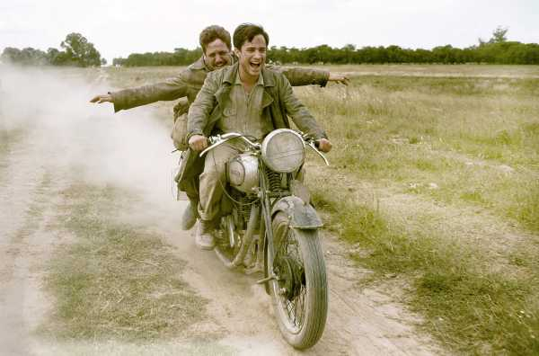 """** FILE ** In this handout picture from Focus Features, 23-year-old medical student from Argentina, Ernesto """"Che"""" Guevara (Gael Garca Bernal, front) travels across South America with his friend Alberto Granado (Rodrigo de la Serna), in """"The Motorcycle Diaries."""" The movie swept top honors at the 20th annual Imagen Awards on Friday, June 17, 2005 , including best picture, director and supporting actor. (AP Photo/Focus Features)"""